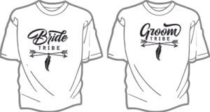foto T shirt Brollop GROOM & BRIDE TRIBE