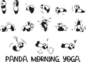 foto Yoga Stickers Kids Panda morgon yoga