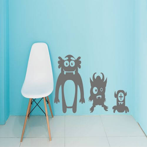 foto Wallstickers Barn Monster Trio